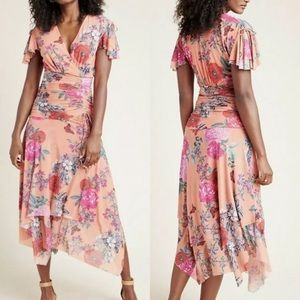 NWT Anthropologie Ruched Floral Midi Boho Dress